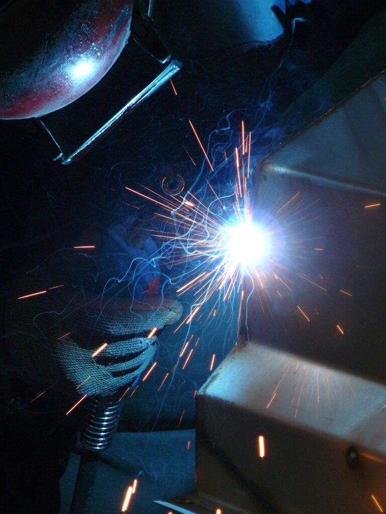 welding, blue, work